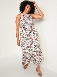 Waist-Defined Floral-Print Plus-Size Sleeveless Maxi Dress