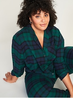Patterned Flannel Plus-Size Pajama Set
