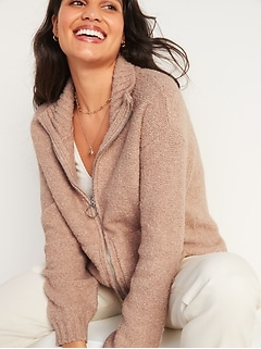 Cozy Bouclé-Knit Mock-Neck Zip-Front Sweater for Women