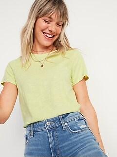 T-shirt Tout-aller en tricot grège à col rond pour femme