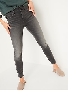 High-Waisted Rockstar Built-In Warm Super Skinny Gray Jeans for Women