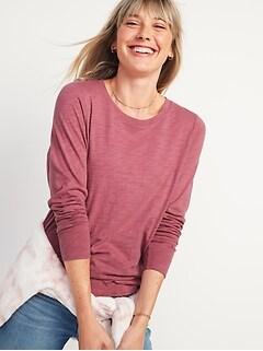 EveryWear Slub-Knit Long-Sleeve Tee for Women