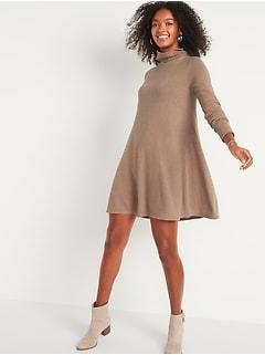 Cozy Turtleneck Swing Dress for Women