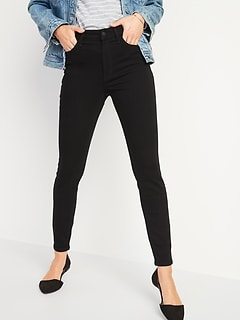 High-Waisted Rockstar Built-In Warm Super Skinny Black Jeans for Women