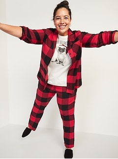 Patterned Flannel Plus-Size Pajama Set
