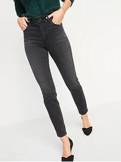 High-Waisted Rockstar Built-In Warm Super Skinny Black Jeans for Women