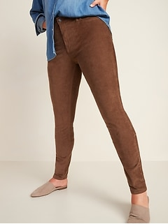 Pantalon en velours côtelé Rockstar de couleur vive à taille moyenne, coupe super moulante pour femme