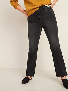 High-Waisted Flare Black Cut-Off Ankle Jeans for Women
