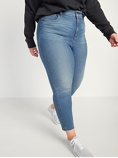 Extra High-Waisted Secret-Slim Pockets Rockstar 360° Stretch Super Skinny Plus-Size Cut-Off Ankle Jeans