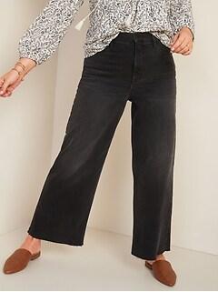 Jean noir coupé à la cheville, à jambe large et à taille très haute pour femme