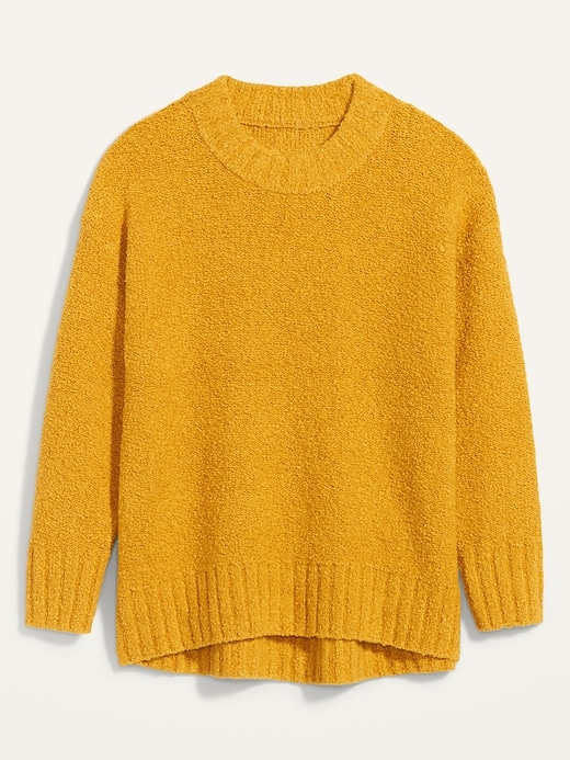 Cozy Oversized Bouclé Crew-Neck Sweater for Women