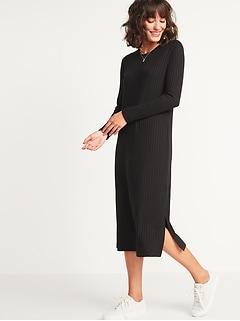 Rib-Knit Long-Sleeve Midi Shift Dress for Women