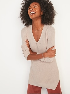 Textured V-Neck Sweater Tunic for Women