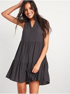 Sleeveless Textured Dobby Tiered Swing Dress for Women