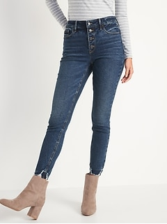 High-Waisted Button-Fly Rockstar Super Skinny Cut-Off Ankle Jeans for Women