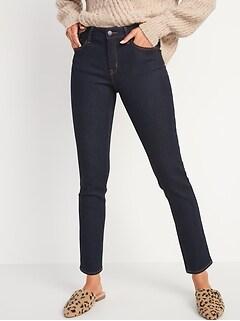 Mid-Rise Power Slim Straight Dark-Wash Jeans for Women