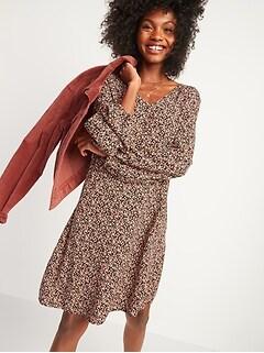 Floral-Print Fit & Flare Smocked-Back Dress for Women