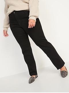 Mid-Rise Power Slim Straight Plus-Size Black Jeans