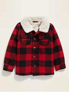 Veste-chemise à carreaux doublée en sherpa pour tout-petit garçon