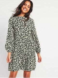 Floral-Print Long-Sleeve Swing Dress for Women