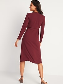 Rib-Knit Midi Fit & Flare Wrap Dress for Women