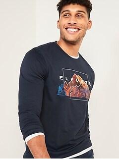 T-shirt à imprimé Go-Dry Cool contrôle des odeurs à manches longues pour homme