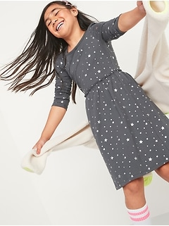 Fit & Flare Long-Sleeve Jersey Dress for Girls