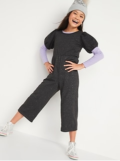 Balloon-Sleeve Sparkle Jumpsuit for Girls