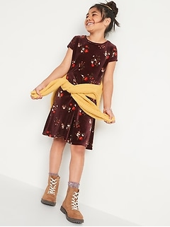 Fit & Flare Short-Sleeve Velvet Dress for Girls