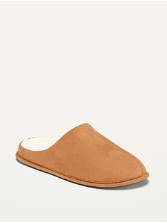 Faux-Suede Sherpa Lined Slide Slippers for Men