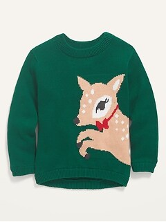 Deer-Critter Graphic Pullover Sweater for Toddler Girls