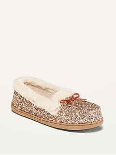 Glitter Faux-Fur Lined Moccasin Slippers for Women