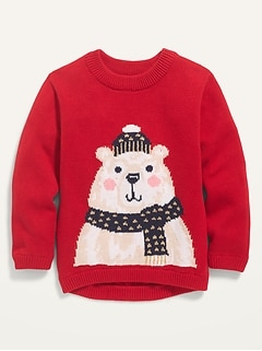 Bear-Critter Graphic Pullover Sweater for Toddler Girls