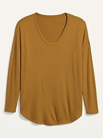 Loose Luxe Rib-Knit V-Neck Tunic Tee for Women