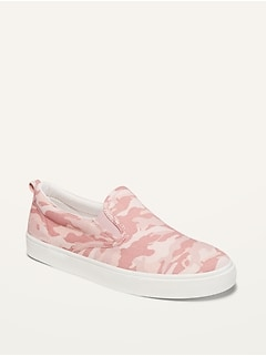 Pink Camo Canvas Slip-Ons for Girls