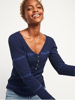 Henley en tricot côtelé à manches longues, coupe étroite pour femme