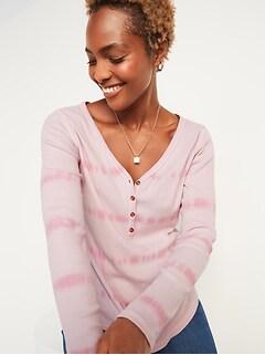 Slim-Fit Rib-Knit Long-Sleeve Henley Tee for Women