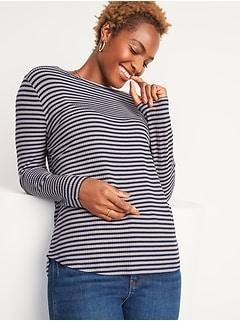 Luxe Rib-Knit Metallic-Stripe Long-Sleeve Tee for Women