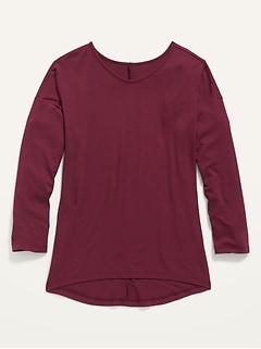 Luxe Drop-Shoulder Voop-Neck Top for Girls