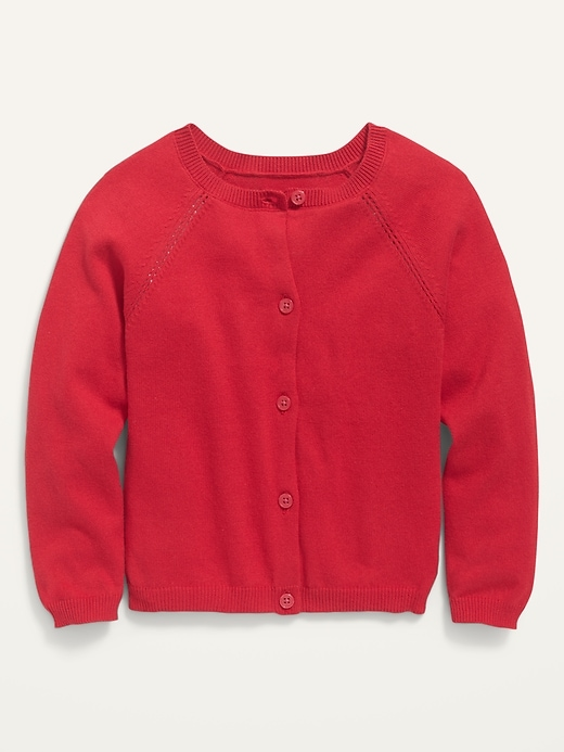 Raglan-Sleeve Crew-Neck Cardigan for Toddler Girls