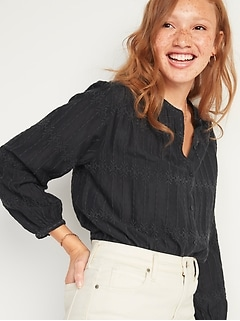Oversized Embroidered Button-Front Blouse for Women