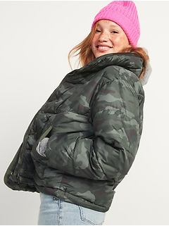 Camo Quilted Utility Puffer Jacket for Women