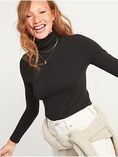 Slim-Fit Long-Sleeve Turtleneck Tee for Women