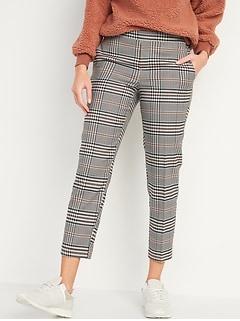 Mid-Rise Straight Plaid Pull-On Ankle Pants
