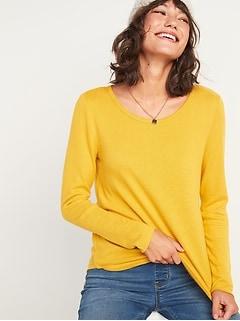 T-shirt en tricot moelleux douillet à manches longues pour femme