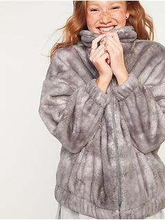 Veste de détente en sherpa pelucheux douillet pour femme