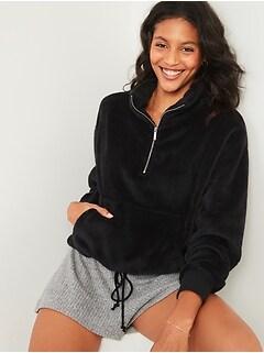 Cozy Faux-Fur Half-Zip Cinch-Hem Sweatshirt for Women