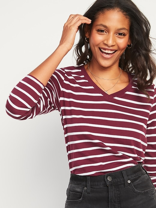 EveryWear Striped Long-Sleeve V-Neck Tee for Women