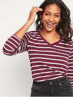 EveryWear Striped Long-Sleeve V-Neck Tee for Women