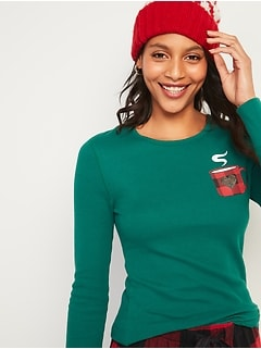 Christmas-Graphic Thermal-Knit Long-Sleeve Tee for Women